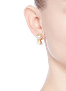 Obellery'Fruity Trio' 18k yellow gold plated triple pearl earrings