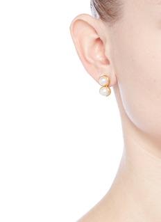 Obellery'Fruity Twin' 18k yellow gold plated double pearl earrings