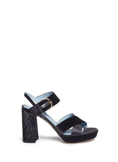 Frances Valentine'Dizzie' glitter heel satin velvet platform sandals