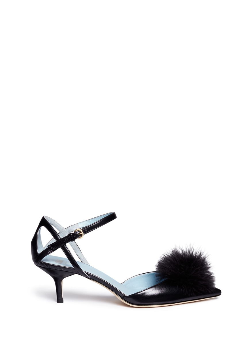 Willow pompom leather pumps by Frances Valentine