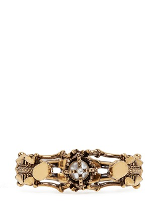 Figure View - Click To Enlarge - Alexander McQueen - Skeleton faux pearl crown cuff