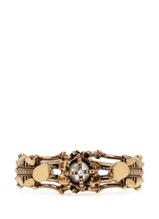 Alexander McQueenSkeleton faux pearl crown cuff