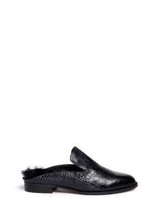 Robert Clergerie 'Alicef' fur lined croc embossed leather mules