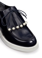 'Biro' detachable faux pearl kiltie leather derbies