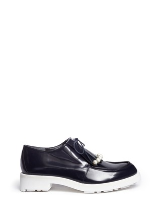 Robert Clergerie - 'Biro' detachable faux pearl kiltie leather derbies