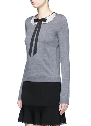 Front View - Click To Enlarge - alice + olivia - 'Jensyn' strass collar intarsia neck tie wool sweater