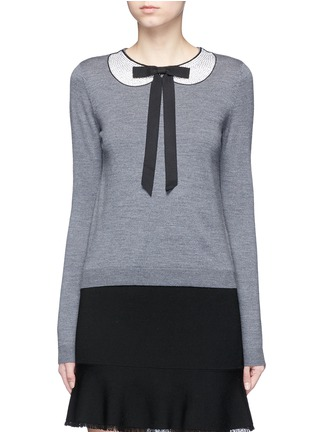 Main View - Click To Enlarge - alice + olivia - 'Jensyn' strass collar intarsia neck tie wool sweater