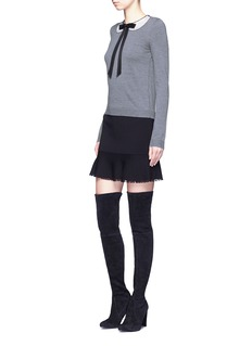 alice + olivia 'Jensyn' strass collar intarsia neck tie wool sweater