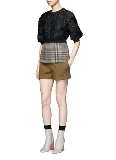 3.1 Phillip Lim Floral cloqué houndstooth hem puff sleeve top