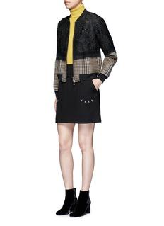 3.1 Phillip LimFloral cloqué houndstooth hem bomber jacket