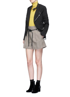 3.1 Phillip Lim Origami pleated houndstooth wool shorts