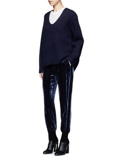 3.1 Phillip Lim Knit trim velvet jogging pants