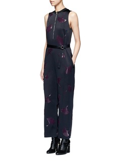3.1 Phillip Lim 'Ginkgo' leaf sequin belted satin jumpsuit