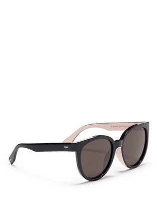 Figure View - Click To Enlarge - Fendi - Colourblock acetate round cat eye sunglasses
