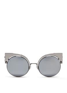 FENDI'Eyeshine' metal round cat eye mirror sunglasses
