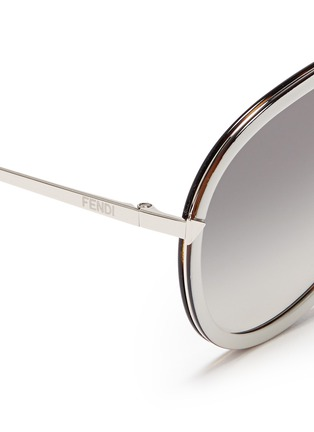 Fendi - 'Funky Angle' acetate rim metal aviator sunglasses