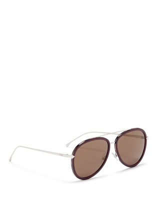 Figure View - Click To Enlarge - Fendi - 'Funky Angle' acetate rim metal aviator sunglasses