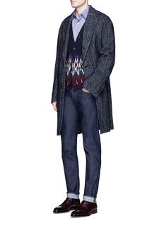 CamoshitaWool-mohair blend herringbone coat