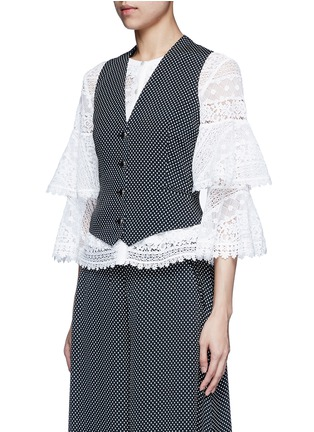 Front View - Click To Enlarge - Temperley London - 'Phoenix' diamond jacquard cross back waistcoat