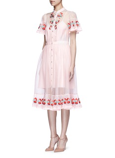 Temperley London 'Elette' floral embroidery silk organza dress