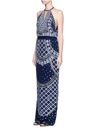 Front View - Click To Enlarge - Temperley London - 'Kekipi' star embellished silk halter dress