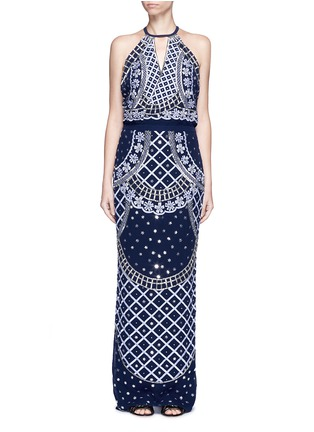 Main View - Click To Enlarge - Temperley London - 'Kekipi' star embellished silk halter dress