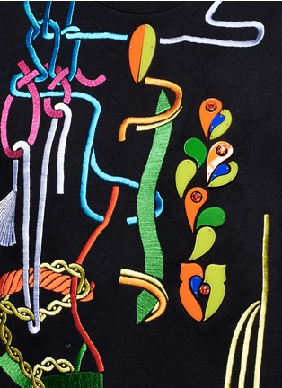 Detail View - Click To Enlarge - Peter Pilotto - Rope embroidery jewel appliqué sweatshirt