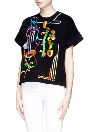 Front View - Click To Enlarge - Peter Pilotto - Rope embroidery jewel appliqué sweatshirt