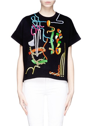 Main View - Click To Enlarge - Peter Pilotto - Rope embroidery jewel appliqué sweatshirt