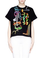 Rope embroidery jewel appliqué sweatshirt