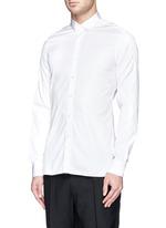 Grosgrain collar cotton poplin shirt