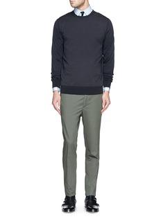 LANVINContrast silk ribbed cotton-Merino wool sweater