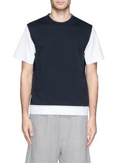 MARNIStructured cuff hem cotton poplin T-shirt