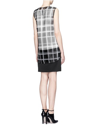 Back View - Click To Enlarge - MO&CO. EDITION 10 - Layered plaid sheer panel dress