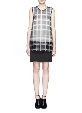 Main View - Click To Enlarge - MO&CO. EDITION 10 - Layered plaid sheer panel dress