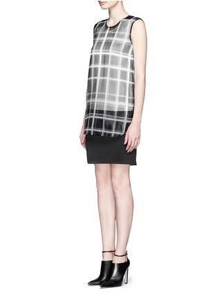 Figure View - Click To Enlarge - MO&CO. EDITION 10 - Layered plaid sheer panel dress