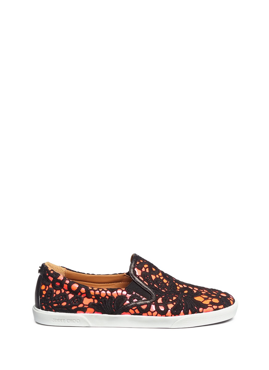 Demi guipure lace patent leather slip-ons