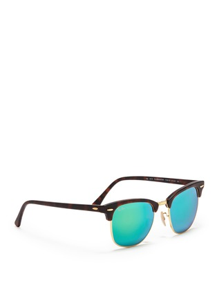 Figure View - Click To Enlarge - Ray-Ban - 'Clubmaster' matte acetate browline mirror sunglasses