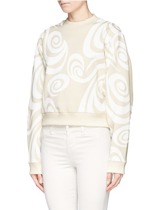 Front View - Click To Enlarge - Acne Studios - 'Bird Allover' spiral print cropped sweatshirt