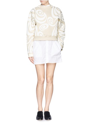 Figure View - Click To Enlarge - Acne Studios - 'Bird Allover' spiral print cropped sweatshirt