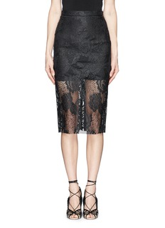 MSGM Lacquer lace pencil skirt