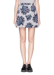 MSGMRose print felpa skirt