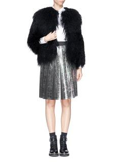 MSGMOilslick foil print pleat skirt