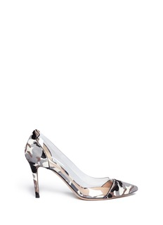 GIANVITO ROSSI Clear PVC camouflage pony hair pumps