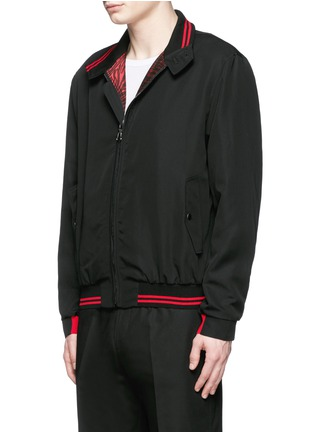 Front View - Click To Enlarge - Lanvin - Zebra jacquard interior trim Harrington jacket