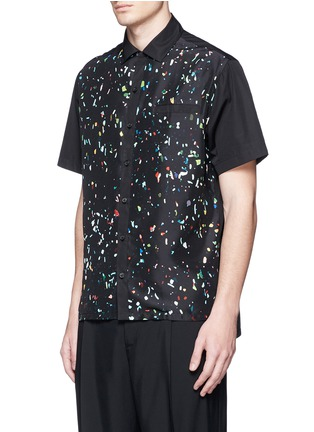 Front View - Click To Enlarge - Lanvin - Starlight print front silk bowling shirt