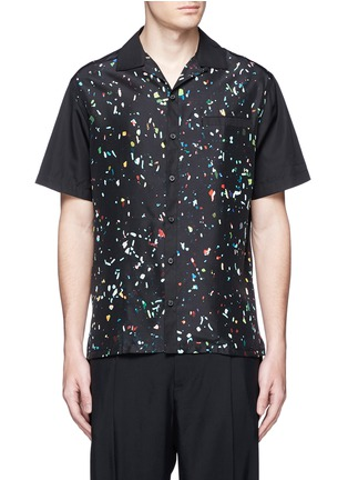 Main View - Click To Enlarge - Lanvin - Starlight print front silk bowling shirt
