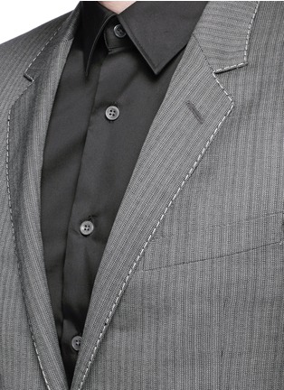 细节 - 点击放大 - LANVIN - 羊毛混羊绒细竖纹西服外套