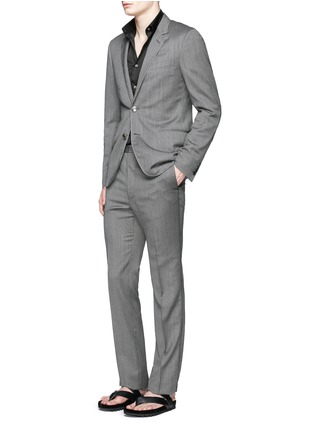 模特儿示范图 - 点击放大 - LANVIN - 羊毛混羊绒细竖纹西服外套