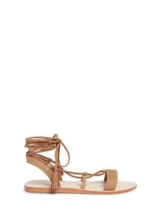 Main View - Click To Enlarge - Pedder Red - 'Felicity' nubuck leather lace-up sandals